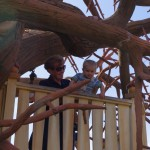 Kallen in Chip and Dales tree house with Grandma