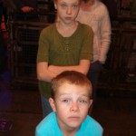 Waiting to get on the elevator on Tower of Terror, Gavin was getting pretty scared. So was Britta.